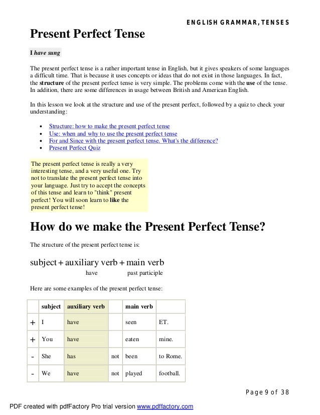 ENGLISH GRAMMAR, TENSES Page 9 of 38 Present Perfect Tense I have sung The present perfect tense is a rather important ten...