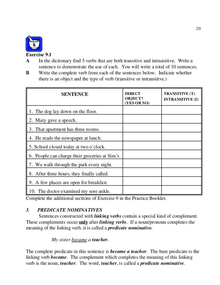 English grammer part 2 – Predicate Nominative Worksheet