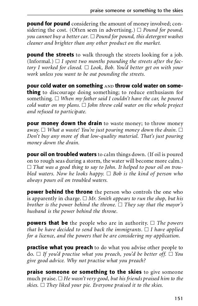 English idioms dictionary in PDF download for free