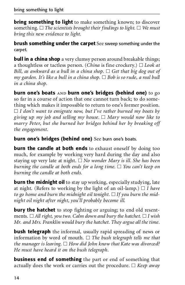 english idioms dictionary in pdf for   18 bring