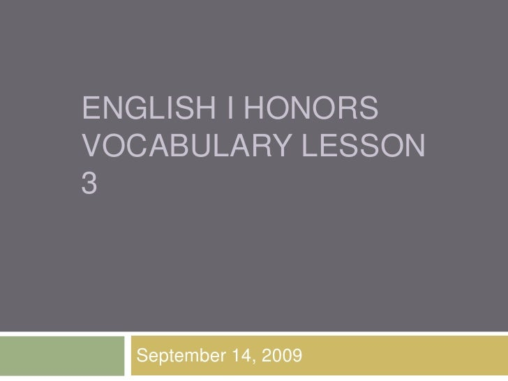 English In Italian: English I Honors Vocab 3