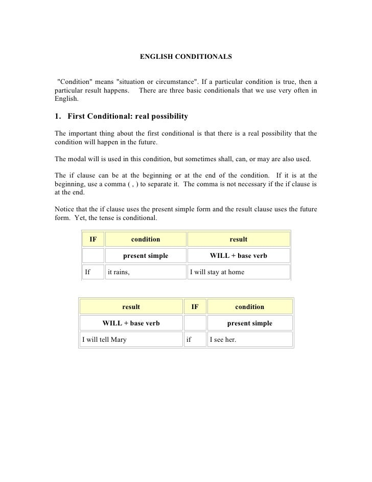 """ENGLISH CONDITIONALS    """"Condition"""" means """"situation or circumstance"""". If a particular condition is true, then a particula..."""