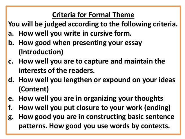how to write a formal theme