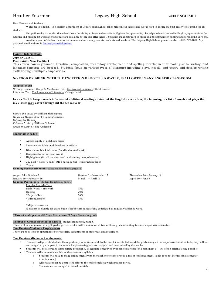English syllabus template hamle. Rsd7. Org.