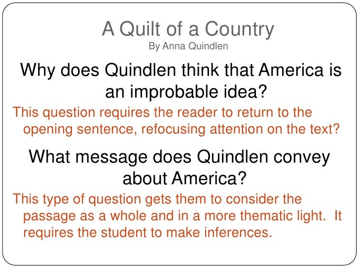 a quilt of a country anna quindlen thesis