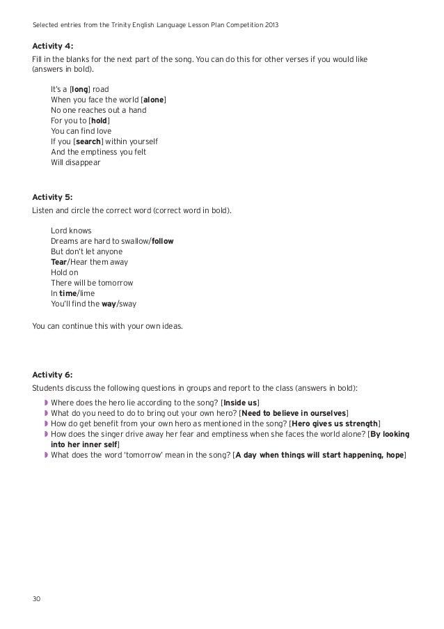 English Language Example Lesson Plans India 2013