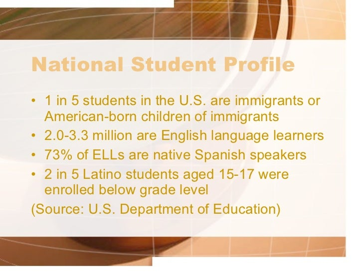 an introduction to the ell or english language learners English language learners (ell) anyone learning english as a second language in an english speaking environment introduction: english language learners connie benjamin.