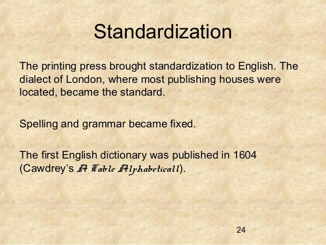standardization by the printing press Achieved essentially by improved integration of the printing press into prepress workflows  standardization in offset printing.