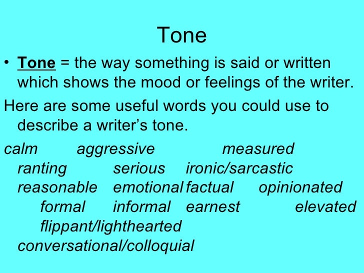 types of tone in writing