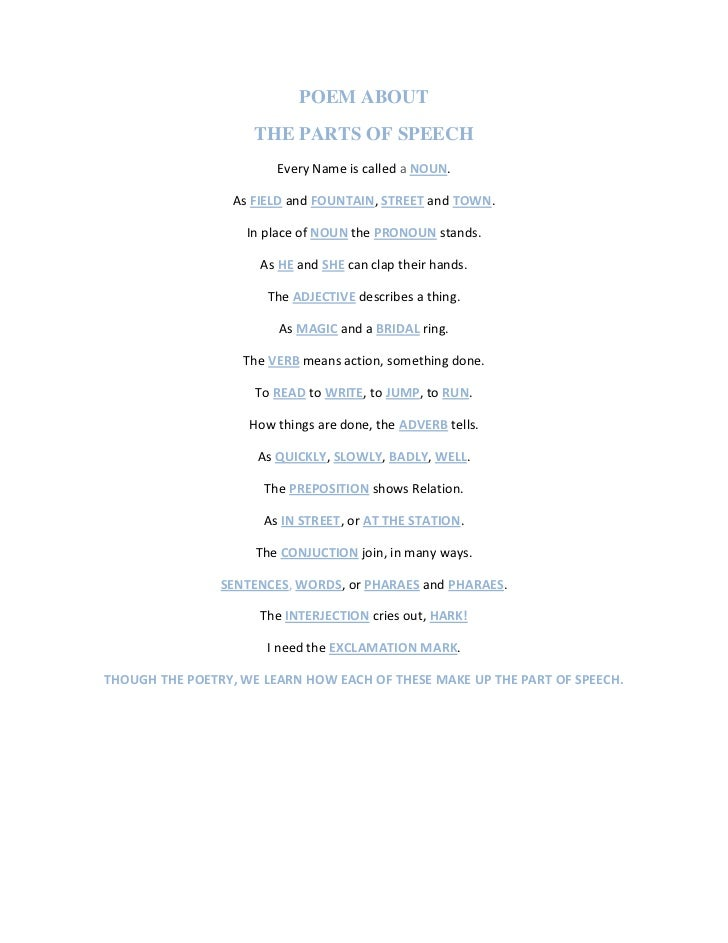 Part Of Speech Poems 1