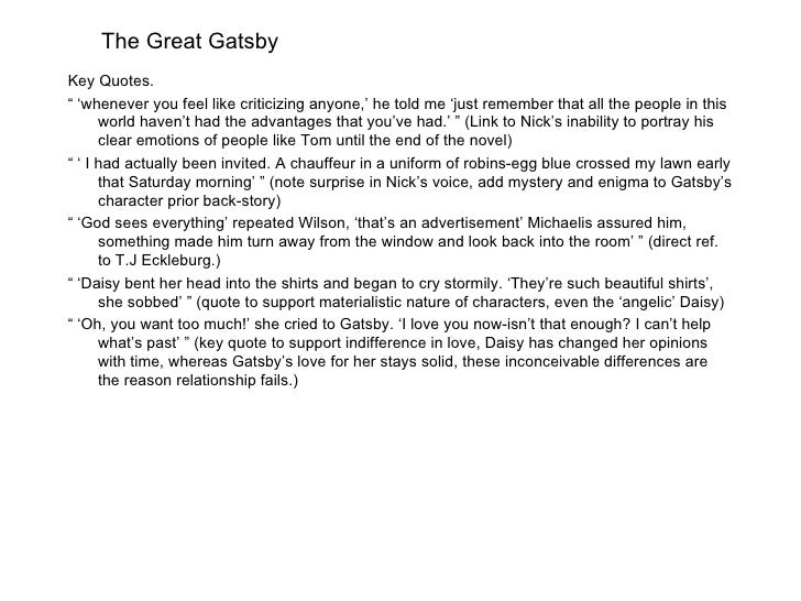 The Great Gatsby: Wealth Allows People to Be Careless and Dangerous
