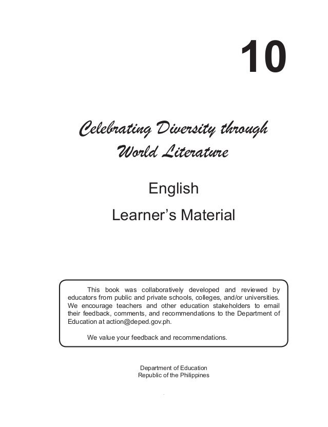 i 10 English Learner's Material Department of Education Republic of the Philippines Celebrating Diversity through World Li...