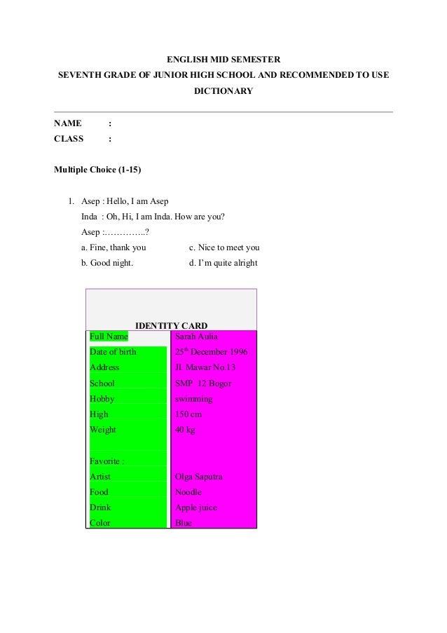 Soal Mid Bahasa Inggris Kelas 7 K13