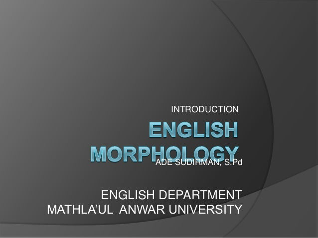 INTRODUCTION  ADE SUDIRMAN, S.Pd  ENGLISH DEPARTMENT MATHLA'UL ANWAR UNIVERSITY