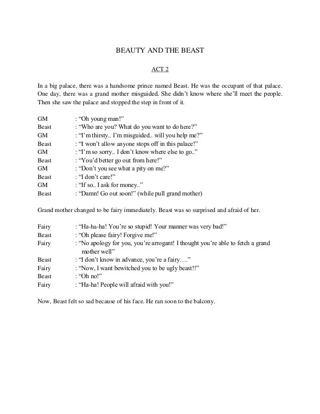 Script of English Musical Drama, Beauty and The Beast
