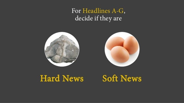 For Headlines A-G, decide if they are Hard News Soft News