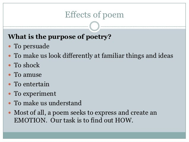 what is the purpose of poetry