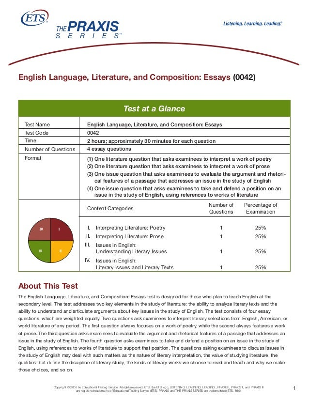 English Language, Literature, and Composition: Essays (0042)                                                              ...