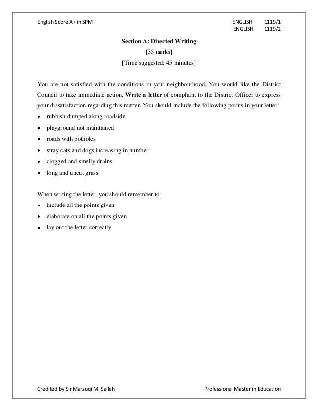 complaint essay sample – Complaint Letter Model
