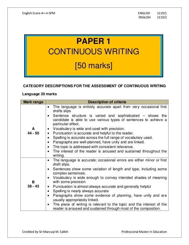 English essay continuous writing