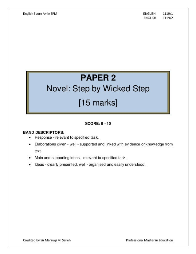 spm english novel step by wicked Teacher nuha - google+ press question mark to see available shortcut keys.