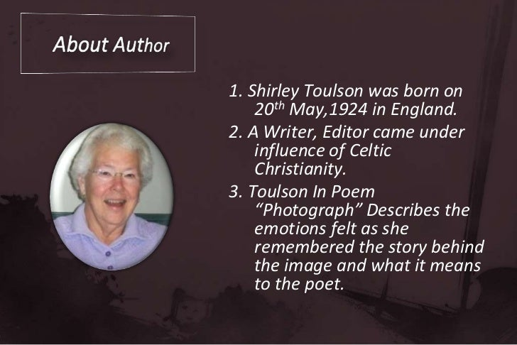 Shirley toulson author biography essay