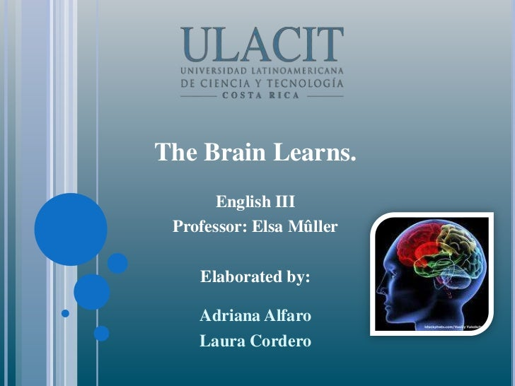 The Brain Learns.<br />English III<br />Professor: Elsa Mûller<br />Elaborated by: <br />Adriana Alfaro<br />Laura Cordero...