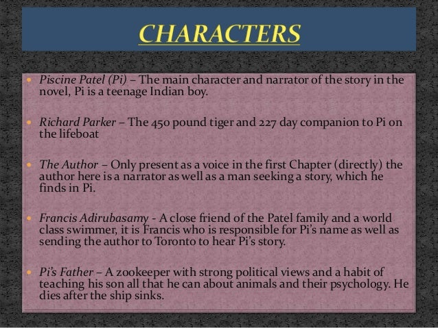 Study on life of pie for Life of pi character analysis
