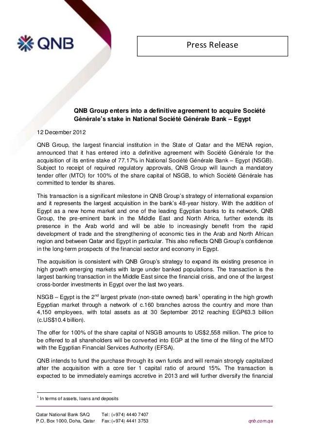 Press Release                    QNB Group enters into a definitive agreement to acquire Société                    Généra...