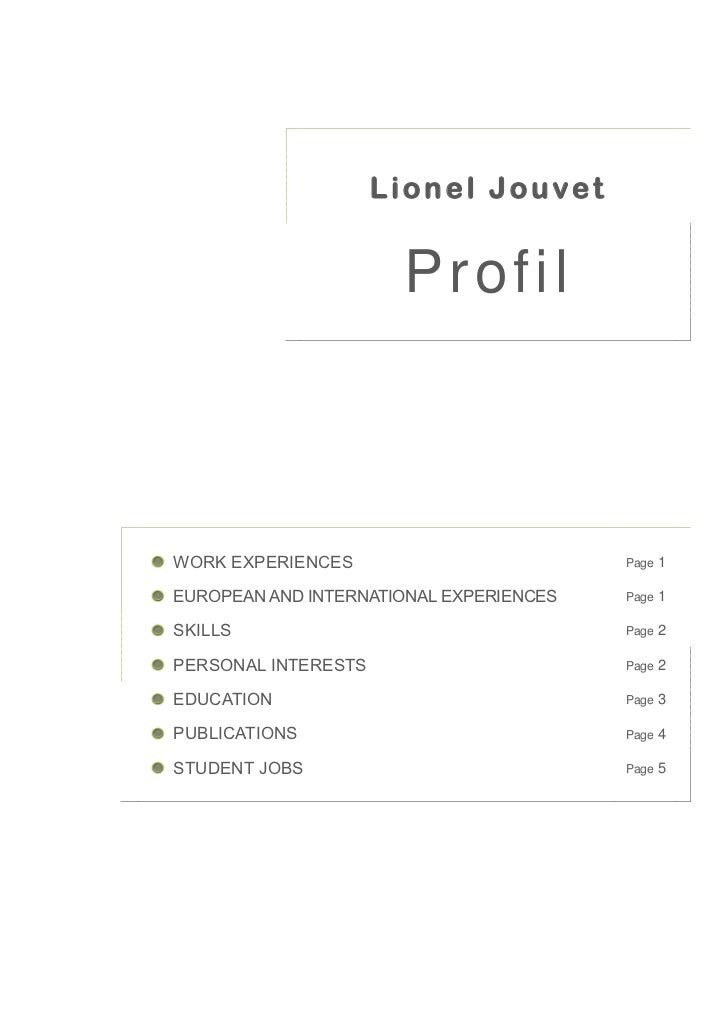 Lionel Jouvet                      ProfilWORK EXPERIENCES                         Page   1EUROPEAN AND INTERNATIONAL EXPER...