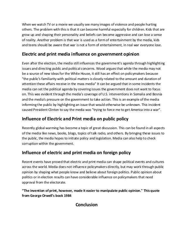 role of media in shaping public opinion and public policies