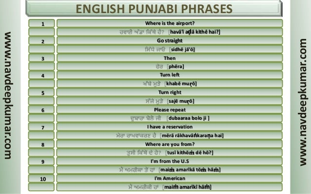 English Punjabi Phrases