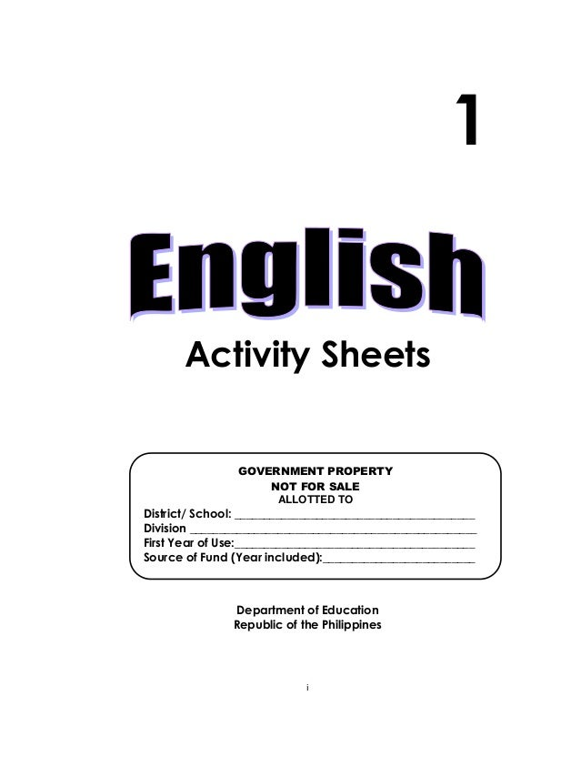 K TO 12 GRADE 1 LEARNING MATERIAL IN ENGLISH (Q3-Q4)