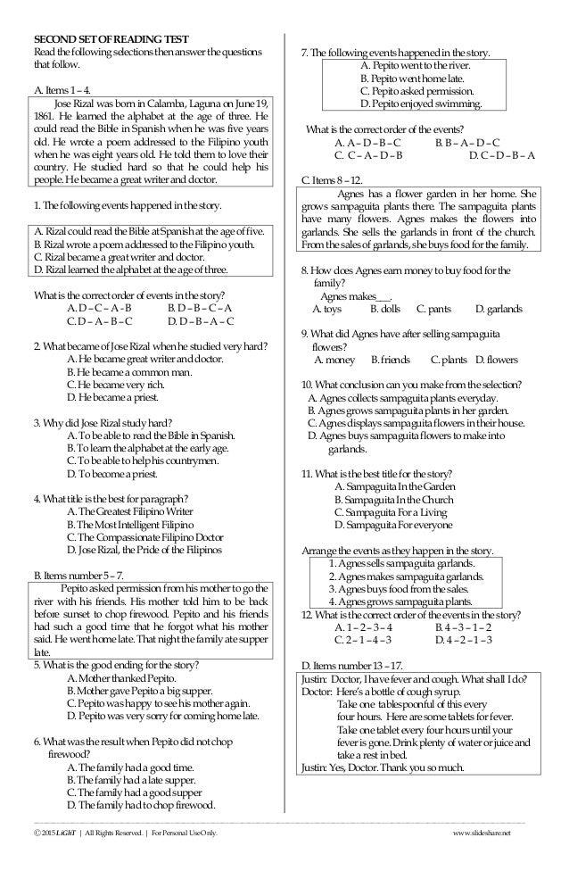 K to 12 Grade 3 ENGLISH READING NAT (National Achievement Test) Rev…