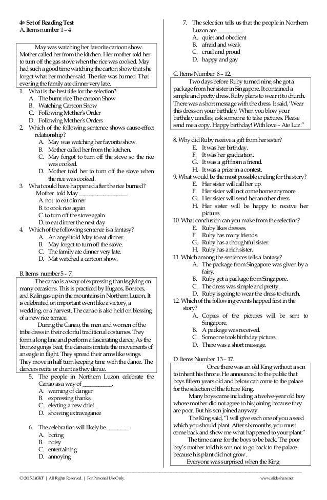 K to 12 Grade 3 ENGLISH READING NAT (National Achievement