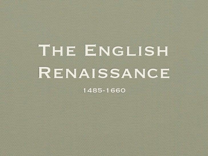 English Renaissance Slideshow