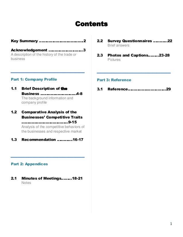 Contents Key Summary ……………………………….2  2.2  Survey Questionnaires …………22 Brief answers  Acknowledgement …………………..……3 A descr...