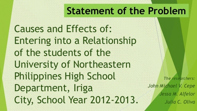 Statement of the Problem Causes and Effects of: Entering into a Relationship of the students of the University of Northeas...