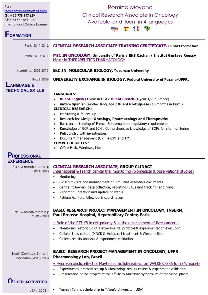 Exceptional International Clinical Research Associate, Romina Moyano. Paris ...