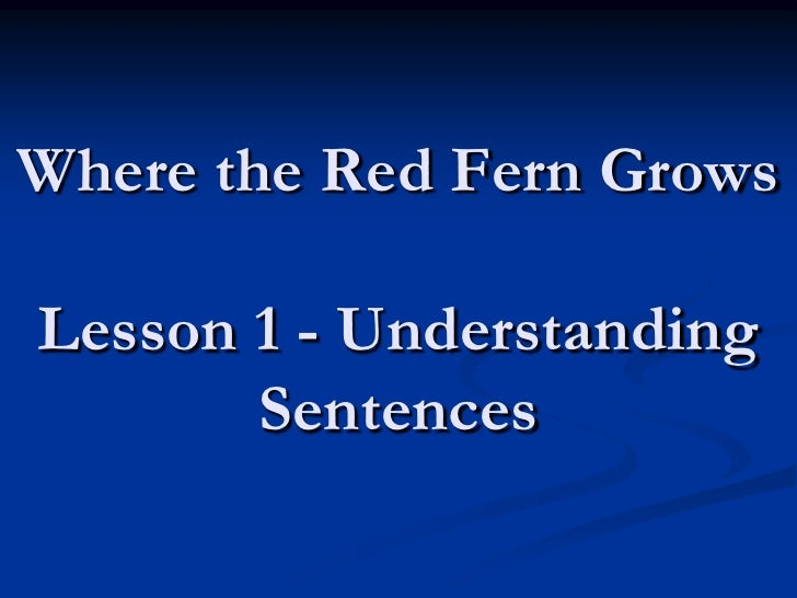Where the Red Fern Grows Lesson 1 - Understanding Sentences <br />