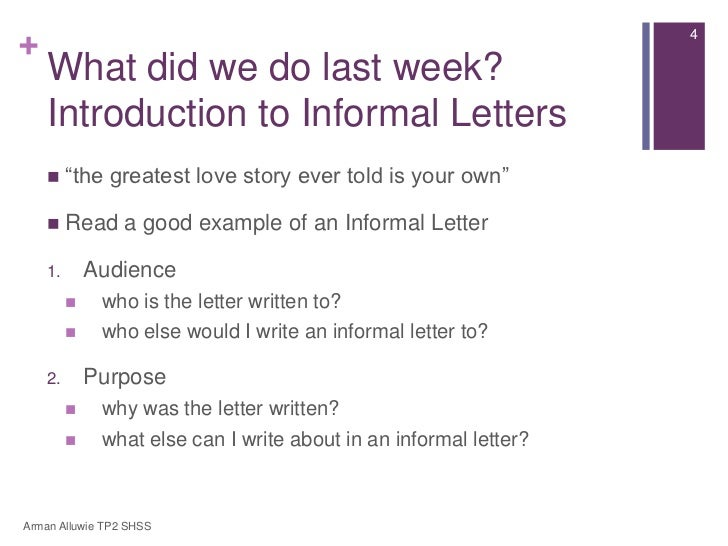 English secondary 1 express lesson 3 introduction to informal letters the greatest love story ever told is your own read a good example of an informal letter 1 spiritdancerdesigns