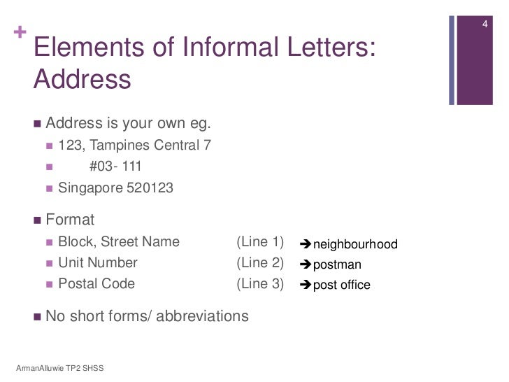 Informal Letter Format Address.  4 Elements of Informal Letters Address is your own eg 123 Tampines Central 7 03 111 Singapore 520123 Format Block English Secondary 1 Express Lesson