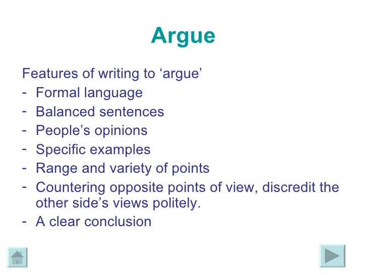 features of writing to argue