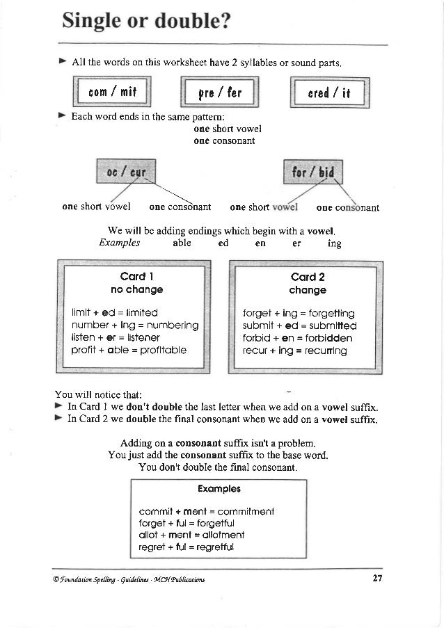 English spellings – Base Word Worksheets
