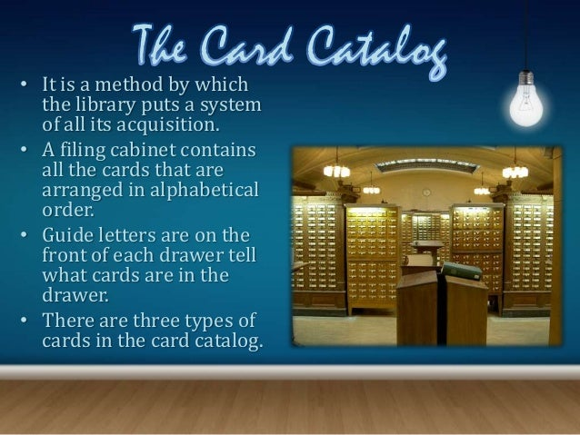 3 kinds of card catalog and their examples.