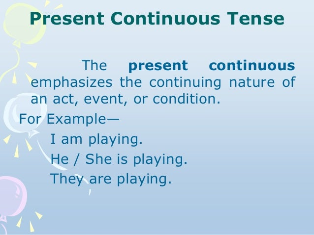 English tenses 12 present continuous tense ccuart Image collections