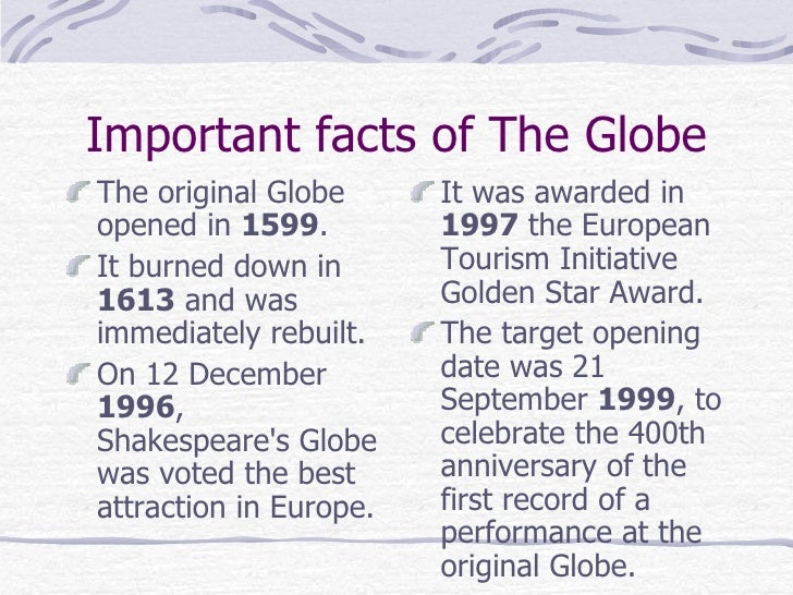 the original globe theatre essay Elizabethan theatre refers to stage plays performed in the reign of queen  elizabeth i, from 1558 to.