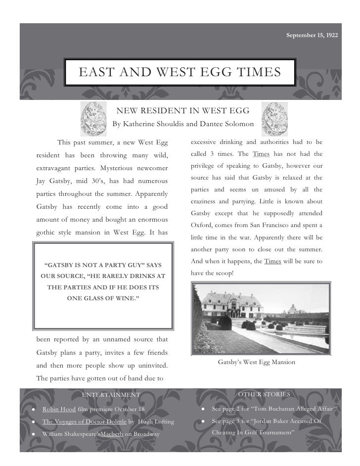 English the great gatsby newsletter revised
