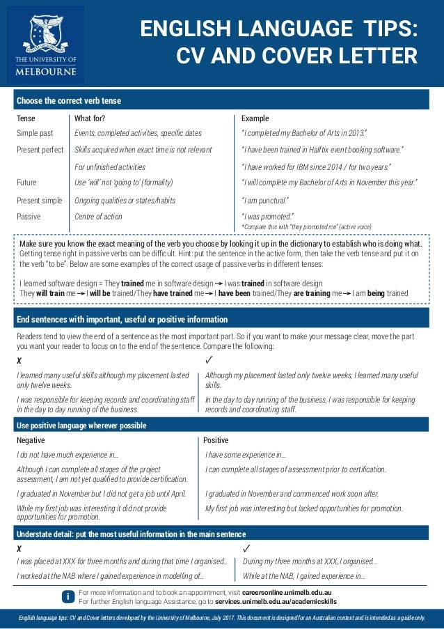 English Tips For Resume And Cover Letter