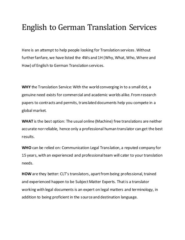 English to german translation services